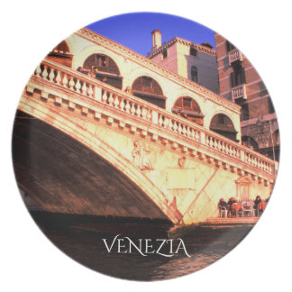 The Rialto Bridge From Venice, Italy Plate