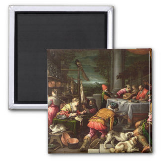The Rich Man and Lazarus, 1590-95 Square Magnet