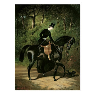 The Rider Kipler on her Black Mare Postcard