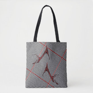 The Right Shoes Black and White Checked Tote Bag