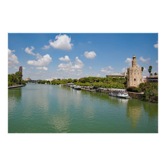 The river Guadalquivir and the Golden Tower. Poster