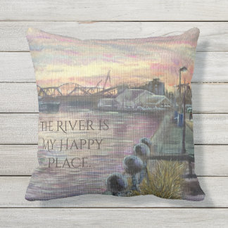 The River is My Happy Place, Riverfront Sunset Art Outdoor Cushion