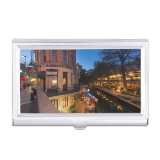 The Riverwalk At Dusk In Downtown San Antonio 2 Business Card Holders