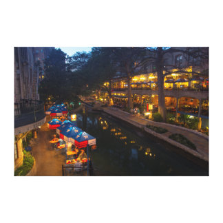 The Riverwalk At Dusk In Downtown San Antonio Gallery Wrap Canvas