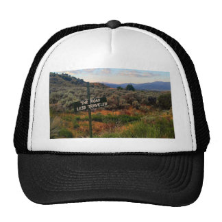 'The Road Less Traveled' Sign Mountain Desertscape Cap
