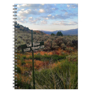 'The Road Less Traveled' Sign Mountain Desertscape Notebook