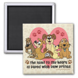 The Road To My Heart Dog Paw Prints Square Magnet