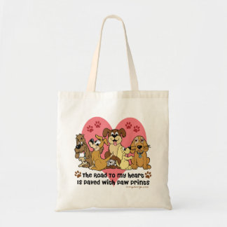 The Road To My Heart Dog Paw Prints Canvas Bag