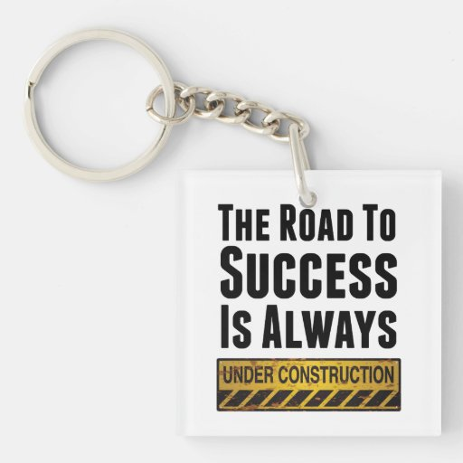 The road to success square acrylic key chains
