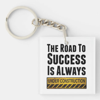 The road to success Single-Sided square acrylic key ring