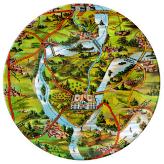 The Road to Washington vintage map Plate