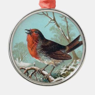 The Robin Vintage Bird Illustration Silver-Colored Round Decoration