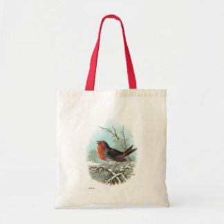 The Robin Vintage Bird Illustration Tote Bag
