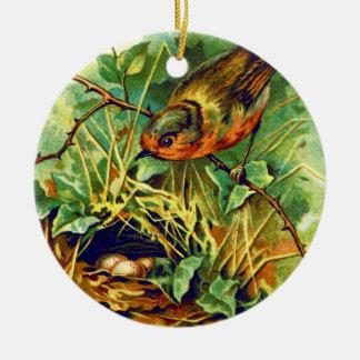The Robin's Nest Vintage Illustration Ceramic Ornament