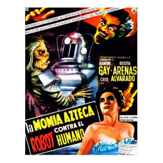 """The Robot vs. The Aztec Mummy"" Postcard"
