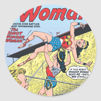 The Robot Wonder Woman Round Sticker