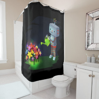 The Robot's Garden Shower Curtain