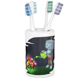 The Robot's Garden Soap Dispenser And Toothbrush Holder