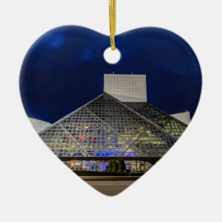 The Rock and Roll Hall of Fame at Dusk Ceramic Heart Decoration