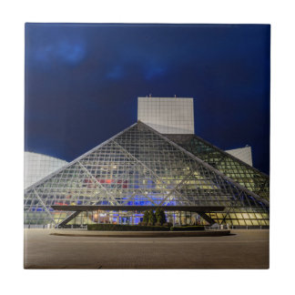 The Rock and Roll Hall of Fame at Dusk Small Square Tile