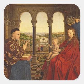 The Rolin Madonna , c.1435 Square Stickers