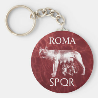 The Roman Capitoline She-Wolf Basic Round Button Key Ring
