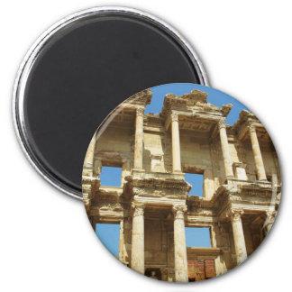 The Roman Celsus Library, Ephesus, Turkey 6 Cm Round Magnet
