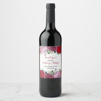 The Romantic Floral Wedding Collection Wine Label
