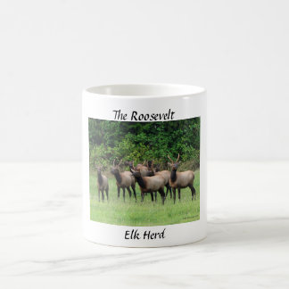 The Roosevelt Elk Herd Basic White Mug