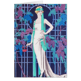 The Roses and the Night Art Deco Greeting Card