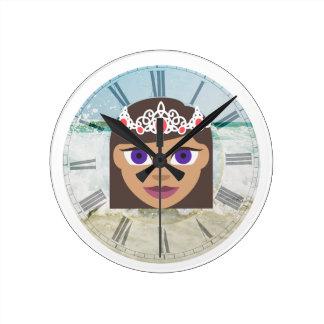 The Royal Families American Princess Emoji Round Clock