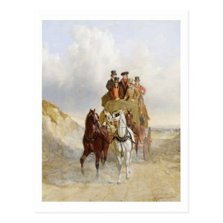 The Royal Mail Coach on the Road, 1841 (oil on pan Postcard