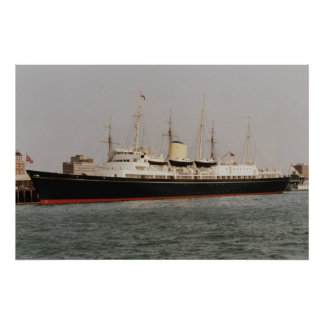 """The royal yacht """"Britannia"""" in Portsmouth Harbor, Poster"""