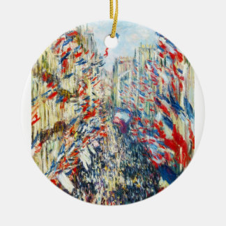 The Rue Montorgueil, Paris, Festival of June Double-Sided Ceramic Round Christmas Ornament