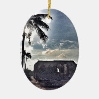 The Ruins in Bantayan Island Ceramic Oval Decoration