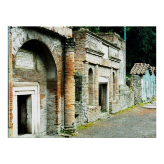 The Ruins of Pompeii - marketplace with temples Poster