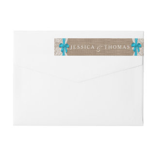 The Rustic Blue Bow Wedding Collection Labels Wraparound Return Address Label