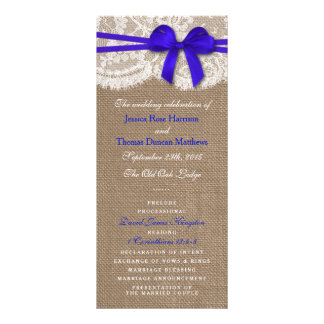 The Rustic Blue Bow Wedding Collection Programs Personalized Rack Card