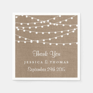 The Rustic Burlap String Lights Wedding Collection Paper Napkin