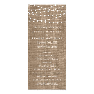 The Rustic Burlap String Lights Wedding Collection 10 Cm X 23 Cm Rack Card