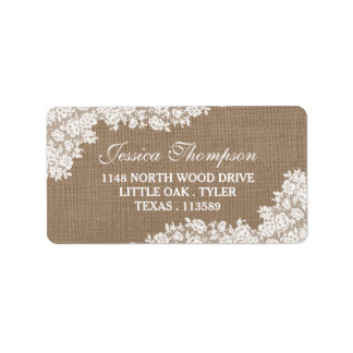 The Rustic Burlap & Vintage White Lace Collection Address Label