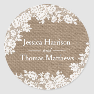 The Rustic Burlap & Vintage White Lace Collection Classic Round Sticker