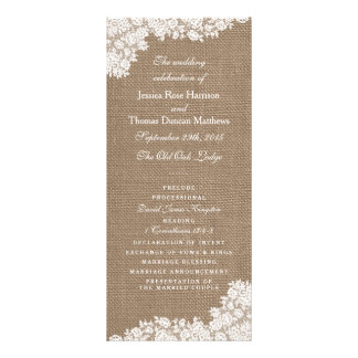 The Rustic Burlap & Vintage White Lace Collection Customised Rack Card