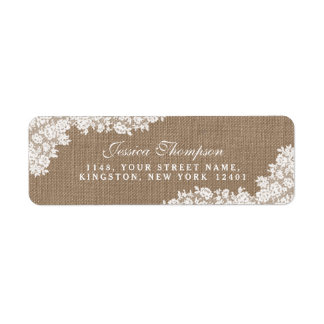 The Rustic Burlap & Vintage White Lace Collection Return Address Label