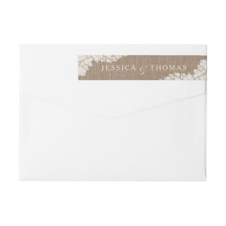The Rustic Burlap & Vintage White Lace Collection Wraparound Return Address Label