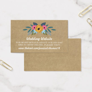 The Rustic Kraft Floral Wreath Wedding Collection Business Card