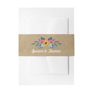 The Rustic Kraft Floral Wreath Wedding Collection Invitation Belly Band