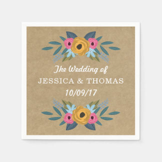The Rustic Kraft Floral Wreath Wedding Collection Paper Napkins