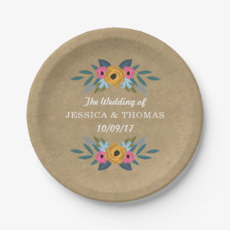 The Rustic Kraft Floral Wreath Wedding Collection Paper Plate
