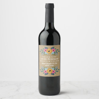 The Rustic Kraft Floral Wreath Wedding Collection Wine Label